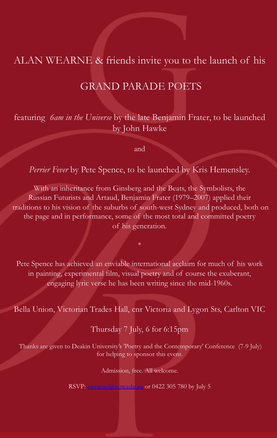 Grand Parade Launch Invite